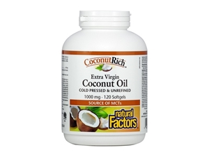 КОКОСОВО МАСЛО  екстра върджин 1000 mg 120 софтгел капс.Natural Factors CoconutRich® Extra Virgin Coconut Oil