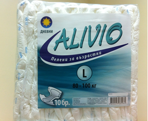 АЛИВИО ПАМПЕРС ЗА ВЪЗРАСТНИ ДНЕВНИ 80-100kg 10 бр. Alivio All in One Adult Diapers Large Size Day  Care