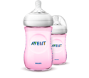 Бутилка за бебе 260 ml биберон с бавен поток  розово  1m+ Philips Avent Natural baby bottle Extra soft slow flow nipple