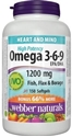 ОМЕГА 3-6-9 1200 mg 90 софтгел капс. Webber Naturals Omega 3-6-9 High Potency Fish Flax & Borage
